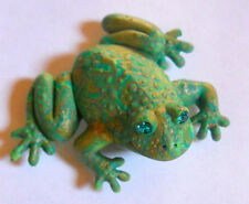 Jewled Crystal Eyes FAT FROG, Greens, Golds 3D Fridge Magnet New Made in USA