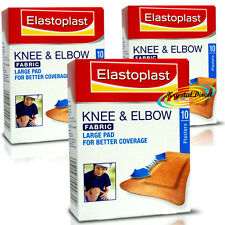 3x Elastoplast Fabric Knee & Elbow Cushion Non Stick Wound Large Pad Plasters 10