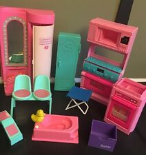 Lot Vintage Barbie Doll House Furniture Locker Chair Tub Stove Dishwasher Mattel