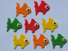 12 edible FISH WITH EYES cake CUPCAKE topper DECORATION sea GUPPY ocean GOLDFISH