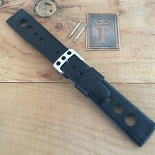 20mm 1960s-1970s DeLuxe Leather Rally Watch Strap NOS Vintage Watch Band 13/16""