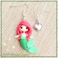 Orecchini Chibi Ariel ~ Cute Disney Earrings Fimo Polymer Clay Kawaii tiny
