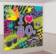 80er Jahre Raum-Dekoration 2er-Set NEU - Partyartikel Dekoration Karneval Faschi