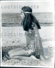 1969 Woman Models See Through Metallic Dress on Beach Grimaud Press Photo