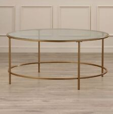 Coffee Table Vintage Round Living Room Decor Furniture Glass Top Round Shape New