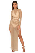 "HOUSE OF CB 'Safaira' Gold Chainmail Knit Sheer Cover Up Dress ""Faulty"" MM 5644"