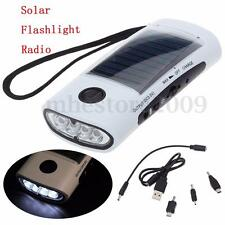 Universal Solar Power Bank Charger 4-LED Flashlight FM Radio Fr Mobile Phone MP4