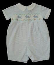 Boys CARRIAGE BOUTIQUES Blue Smocked BUNNY RABBIT Romper 3m Onepiece Shortall