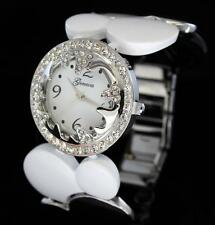 39mm Large Face Silver Tone CZ Bezel Wide Bracelet Geneva Quartz Womens Watch