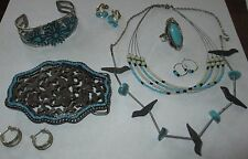 FAUX TURQUOISE jewelry lot WESTERN fashion earrings necklaces ring belt buckle