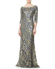 NWT Tadashi Shoji Metallic Sequined Sleeve Lace Gown Dress Navy Blue size 8