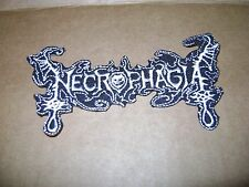NECROPHAGIA,IRON ON WHITE EMBROIDERED PATCH