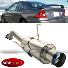 Fits 01-05 Civic 2/4 DR Stainless Steel Axle Back Exhaust Muffler Blue Tip