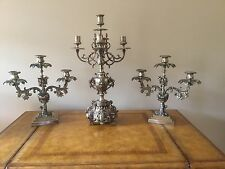 Vintage Brass French Empire Neoclassical Candelabra Garniture 3 Piece Lamp Set