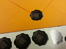 60 butterfly wax seal effect envelope stickers - BLACK (06-03)