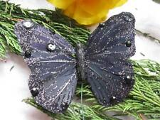 Black Feather Butterfly with Gem Stones - 10.5cm - SUBSTANDARD - SET OF 2