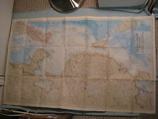 VINTAGE CHINA COAST AND KOREA LARGE WALL MAP National Geographic October 1953