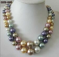 2 Row 10-14mm South Sea Multicolor shell pearl necklace