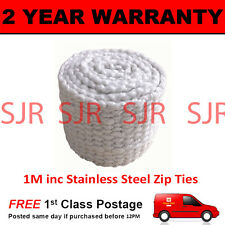RTG HEAVY DUTY CAR & MOTORCYCLE EXHAUST HEAT WRAP 1M INCLUDING S/STEEL CLIPS