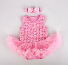 2pcs Newborn Baby Rose Girl Headband+Romper Dress Set Clothing Outfit Pink 3-6M