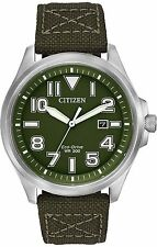 Mens Citizen Eco-Drive Military Green Nylon Canvas With Date Watch AW1410-16X