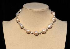 43cm schöne Süßwasser Barockperlen Schmuck Perlenkette Halskette Kette Collier