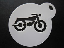 Laser cut small motor bike design cake, cookie,craft & face painting stencil