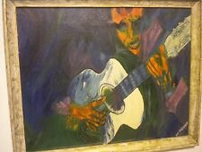 ORIGINAL OIL PAINTING KASHER MAN w GUITAR PERFORM FOLK JAZZ MUSICIAN CIRCA 1964
