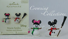 2007 Hallmark Warm Smiles Mickey & Minnie Mouse Snowman Disney Ornament Set Mini