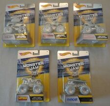2017 Hot Wheels *Monster Jam* 25th SILVER COLLECTION Complete Set of 5 Trucks