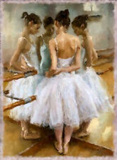 "BALLET. BALLERINA. DANCER. Painting on giclee canvas 16""x20"" with mat frame"