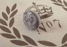 Grey & white filigree heart French stencil furniture ceramic DOOR drawer KNOB