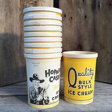 5 WHOLESALE LOT Original 1950s HOPALONG CASSIDY ICE CREAM Box Quart Container