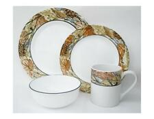 16pc Corelle WOODLAND LEAVES Camouflage DINNERWARE SET Outdoor Nature Wood Camo