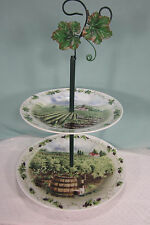 Tiered Serving Plate Vineyard Scene Tid Bit Dish Cheese and Crackers Brand New