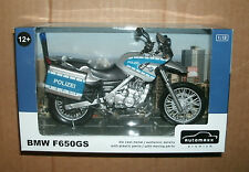 1/12 BMW F650GS Polizei Diecast Motorcycle Model - Police Motor Bike - Automaxx