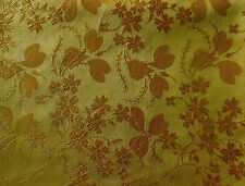 Antique French Silk Floral Clover Jacquard Fabric ~Goldenrod Yellow Mustard Gold