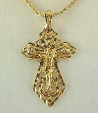 """Gold Plated Crucifix Cross Pendant W/20"""" Rope Chain - LIFETIME WARRANTY"""