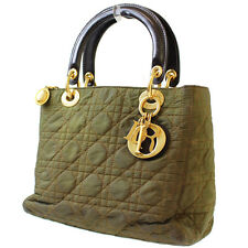 Christian Dior Lady Dior Hand Bag Khaki Gold Leather Italy Authentic #7005 W