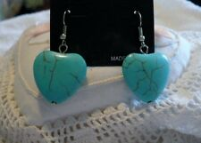 "HEART SHAPE TURQUOISE DANGLE PIERCED EARRINGS  1"" SILVER TONE"