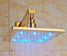 "Gold Polished LED Light 8"" Square Rain Shower Head with Wall Mounted Shower Arm"