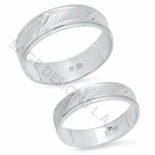 His Hers 14K Solid White Gold Mens Womens Matching Wedding Band Engagement Rings