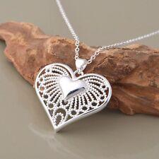 SILBER Kette Medallion Halsketten Anhänger Silberherz Amulett Herz rhodiniert