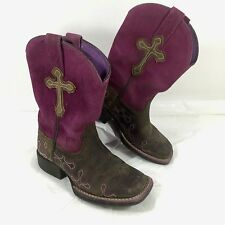 Toddler Girls Ariat Western Boots Pink & Brown Leather Crossroads Square Sz 9.5