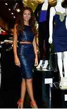 Lipsy Michelle Keegan Navy Co-ord Size 10 Pencil Skirt Lace Metallic Top RP£75