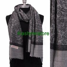 New Pashmina Paisley Floral Silk Wool Scarf Wrap Shawl Soft Gray/black Women's