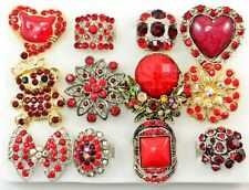 12 PC WHOLESALE Lot Big Red CHIC COCKTAIL COSTUME Fashion Jewelry RINGS#54