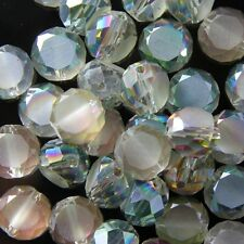 10pcs 10mm Swarovski  Flat drum Crystal beads E Rose-green