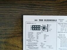 1968 Oldsmobile EIGHT Series Models 400 CI V8 Tune Up Chart