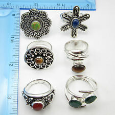 925 Silver Plated ANTIQUE LOOK Rings Wholesale LOT 6pcs, FREE SHIPPING Real Gems